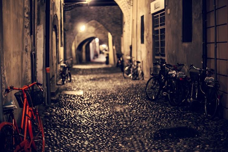 Red Bike in Dark Street