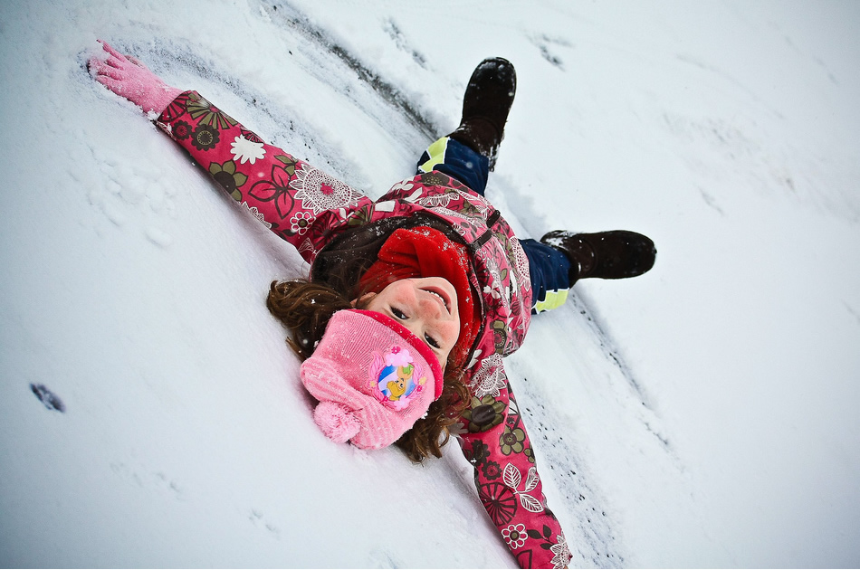 Mandatory snow angels